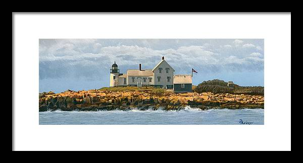 Lighthouse Framed Print featuring the drawing Foggy Sentinel by Brent Ander