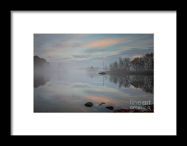 Great Pond Framed Print featuring the photograph Foggy Sunrise At Great Pond 2 by Jim Hayes