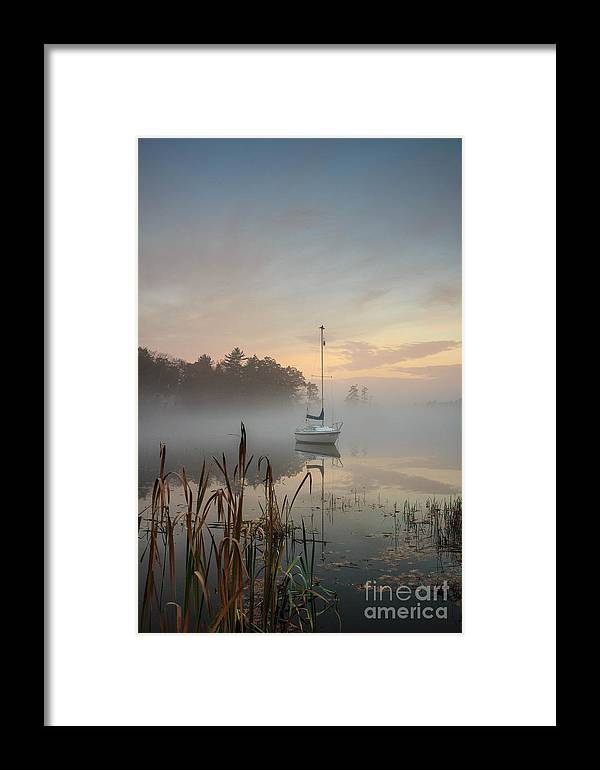Great Pond Framed Print featuring the photograph Foggy Sunrise At Great Pond 3 by Jim Hayes