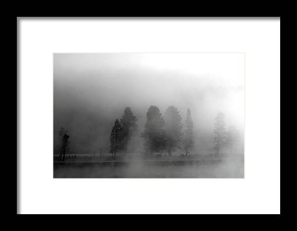 Black And White Framed Print featuring the photograph Foggy Yellowstone by Kimberly Oegerle