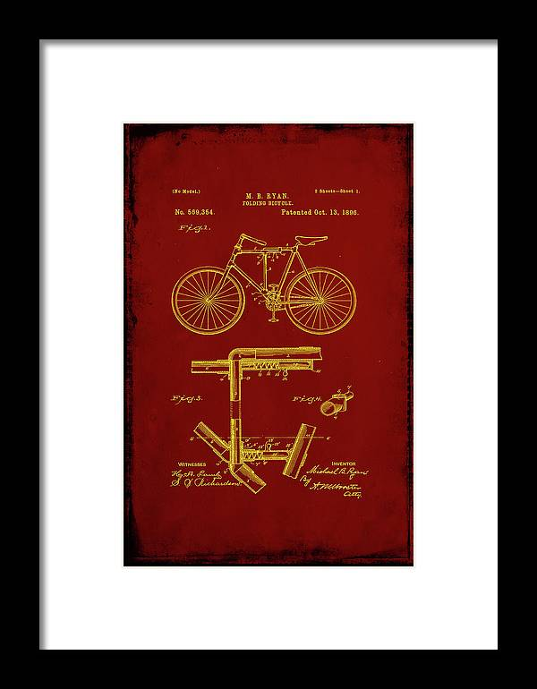 Patent Framed Print featuring the mixed media Folding Bycycle Patent Drawing 1f by Brian Reaves