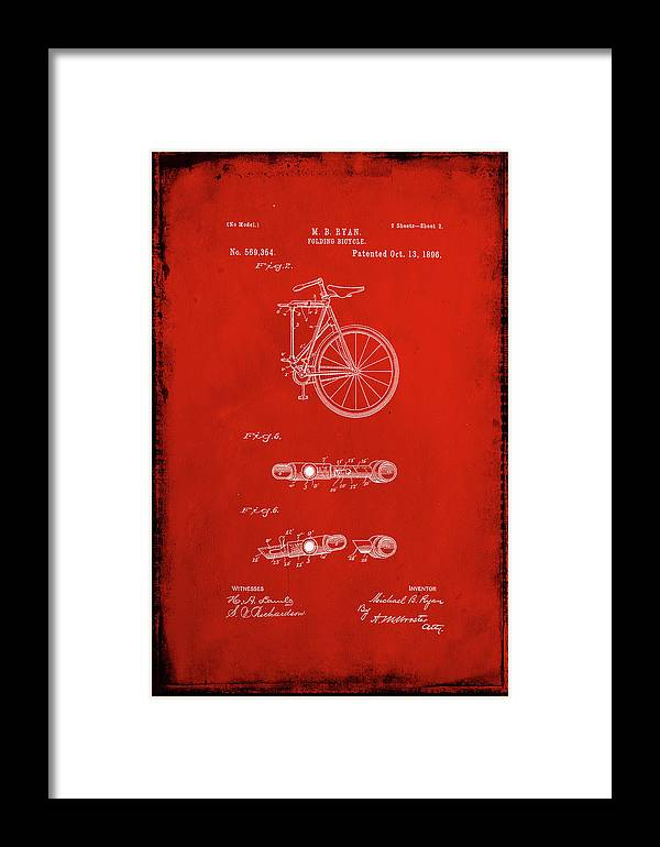 Patent Framed Print featuring the mixed media Folding Bycycle Patent Drawing 2b by Brian Reaves