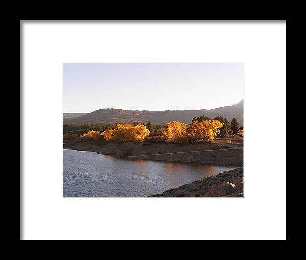 Lake Mancos Framed Print featuring the photograph Foliage At Jackson Lake by Feva Fotos