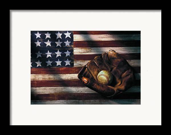 Folk Art American Flag Framed Print featuring the photograph Folk Art American Flag And Baseball Mitt by Garry Gay