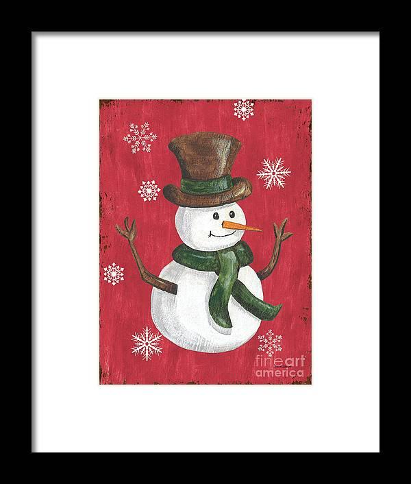 Snowman Framed Print featuring the painting Folk Snowman by Debbie DeWitt