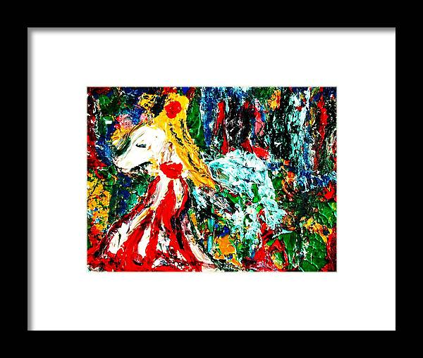 Figurative Surrealist Expressionism Conceptual Abstract Portrait Landscape Dance Love Poetry Nature Framed Print featuring the painting Folklore. by Carmen Doreal