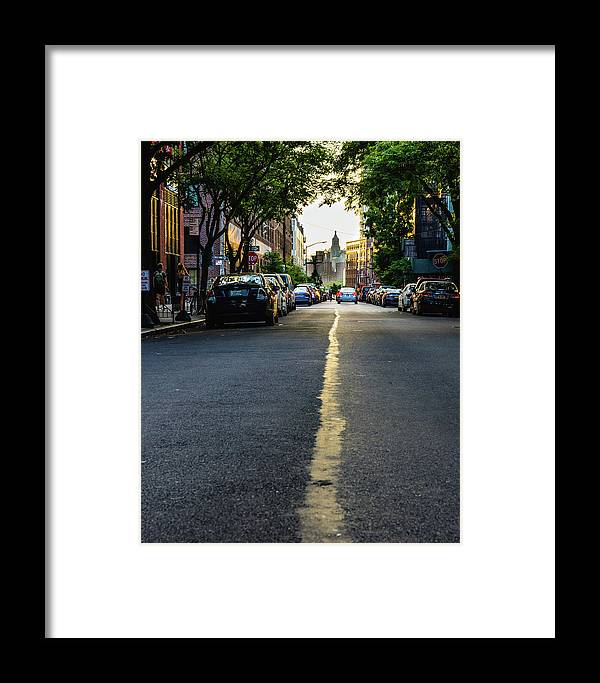 Street Framed Print featuring the photograph Follow The Yellow Line by Alvin Espinal