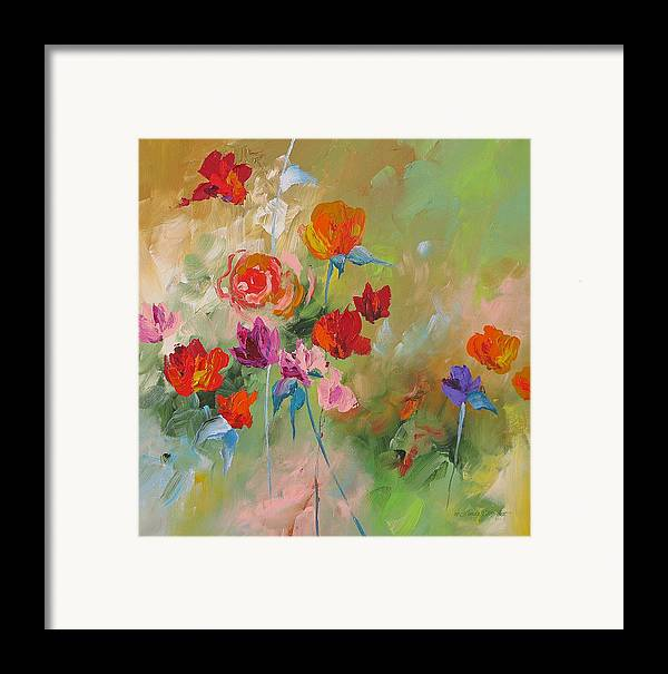 Abstract Framed Print featuring the painting Follow Your Dream by Linda Monfort