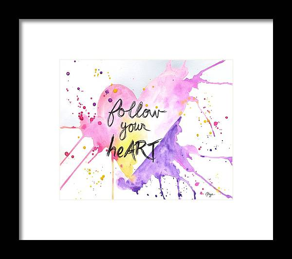 Follow Your Heart Framed Print featuring the mixed media Follow Your HeART by Emily Page