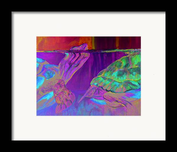 Turtles Framed Print featuring the painting Following by Gail Wartell
