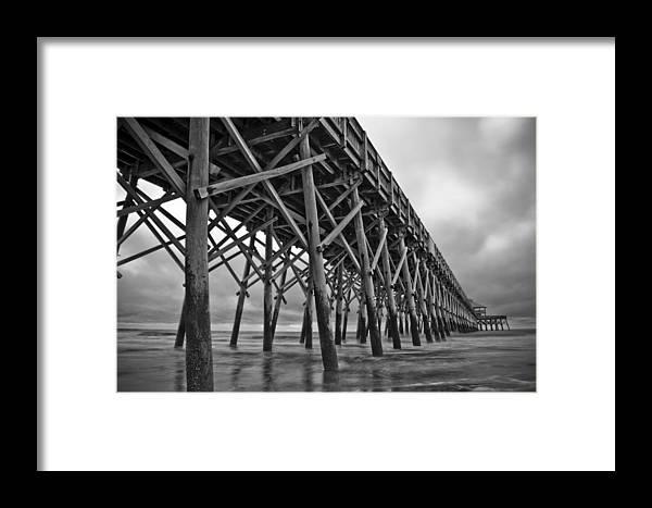 Folly Beach Framed Print featuring the photograph Folly Beach Pier Black And White by Dustin K Ryan