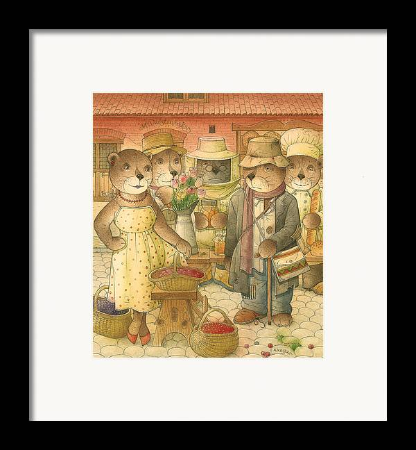 Love Bears Roses Flowers Town Berry Framed Print featuring the painting Folrentius The Gardener07 by Kestutis Kasparavicius