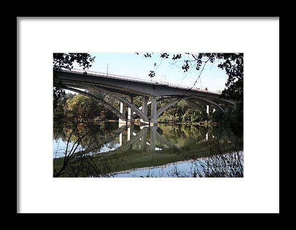 Bridge Framed Print featuring the photograph Folsom Bridge-watercolor by Melanie Rainey