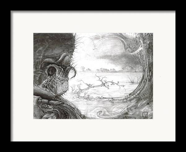 Fomorii Framed Print featuring the drawing Fomorii Swamp by Otto Rapp