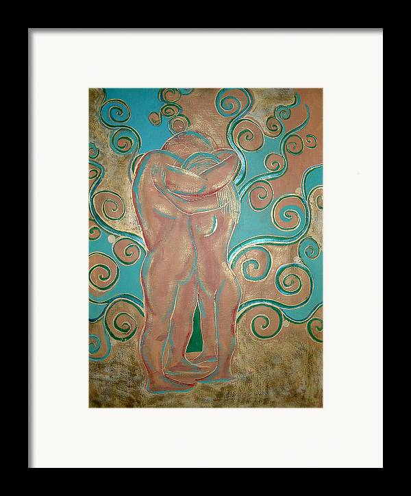 Figures Framed Print featuring the painting Fondness by Aliza Souleyeva-Alexander