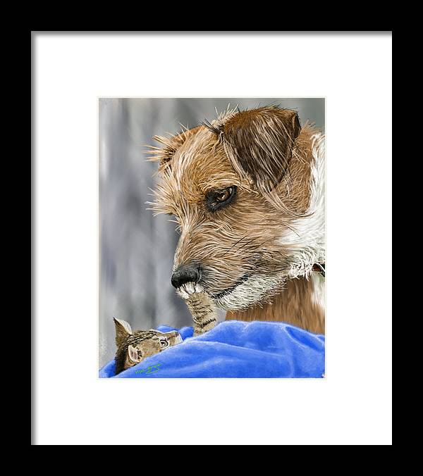 Dog Framed Print featuring the painting Friends of Norfolk Animal Care Center by Myke Irving