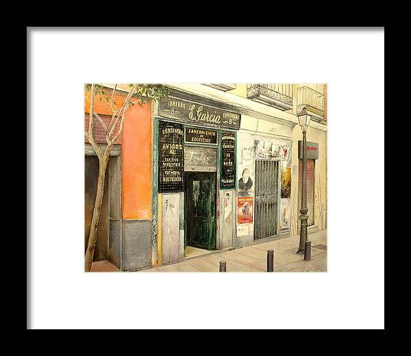 Streetscene Framed Print featuring the painting Fontaneria E.garcia by Tomas Castano