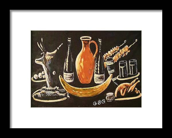 Food Framed Print featuring the painting Food And Wine by George I Perez