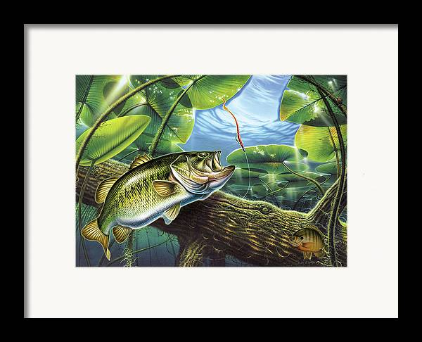 Jon Q Wright Fish Fishing Bass Largemouth Lure Lily Pads Lake Angling Bluegill Log Underwater Framed Print featuring the painting Fooled Again Bass II by JQ Licensing