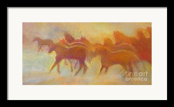 Horses Framed Print featuring the painting Foolin Around I by Kip Decker