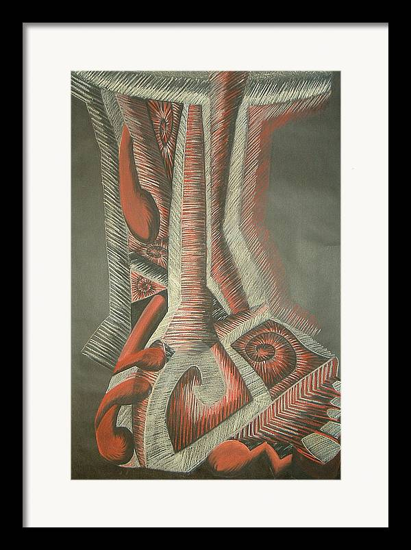 Abstract Framed Print featuring the drawing Foot by Donald Burroughs