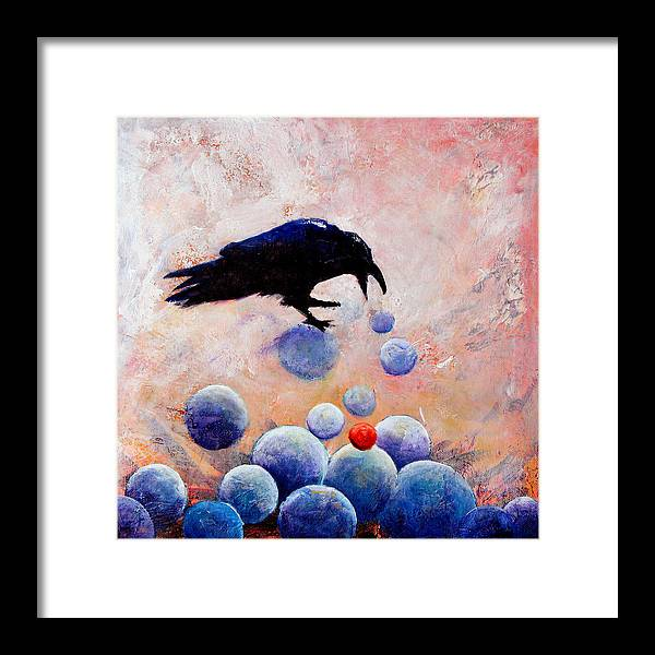 Raven Framed Print featuring the painting Foot-falls Tinkled by Sandy Applegate