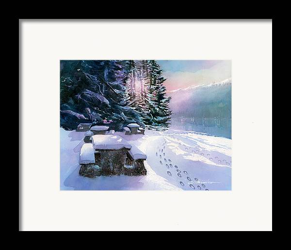 Landscape Framed Print featuring the painting Foot Prints On Snow-port Moody by Dumitru Barliga