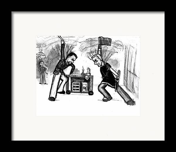 Teachers Framed Print featuring the drawing Football Hysteria by Katie Alfonsi