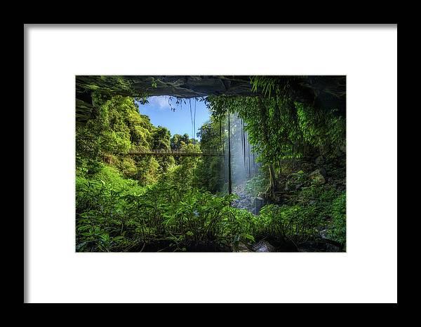 Australia Framed Print featuring the photograph Footbridge And Crystal Falls In The Rainforest Of Dorrigo In Australia by Miroslav Liska