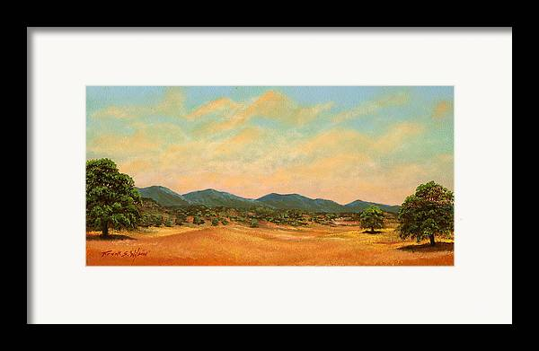 Landscape Framed Print featuring the painting Foothills by Frank Wilson