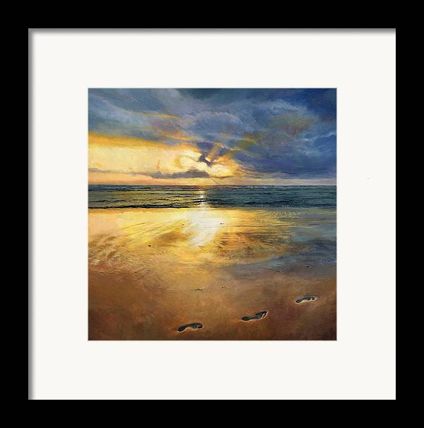 Footprints Framed Print featuring the painting Footprints by Helen Parsley