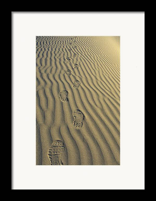 Footprints Framed Print featuring the photograph Footprints In The Sand by Joe Palermo