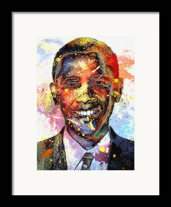 President Barack Obama Color Colored World Painting Usa Us 44th United States Framed Print featuring the painting For A Colored World by Steve K