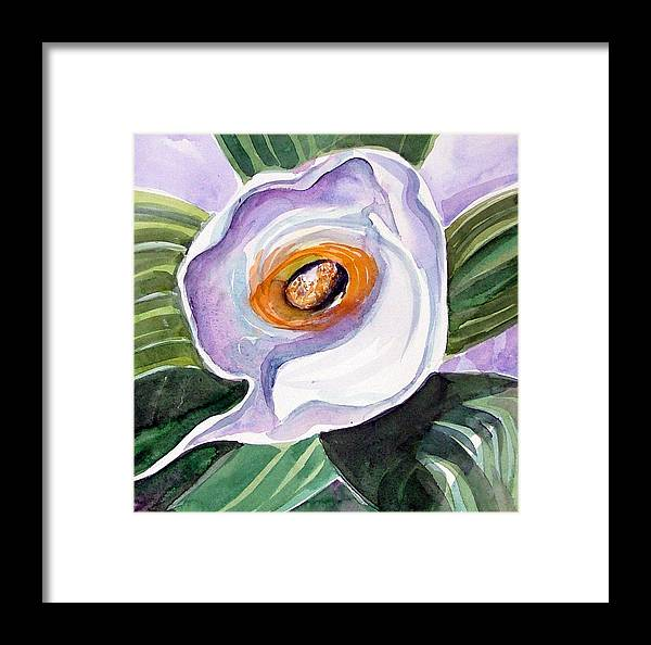 Floral Framed Print featuring the painting For Georgia O Keefe by Mindy Newman