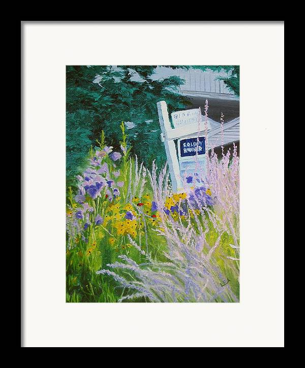 Landscape Framed Print featuring the painting For Sale - A Patch Of Paradise by Lea Novak