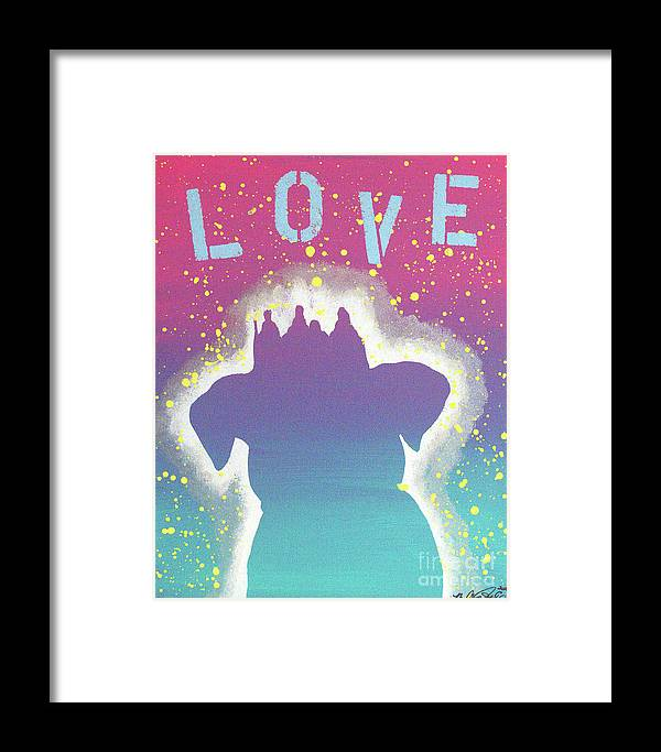 Acrylic Painting Framed Print featuring the painting For The Love Of Pups by Melissa Goodrich