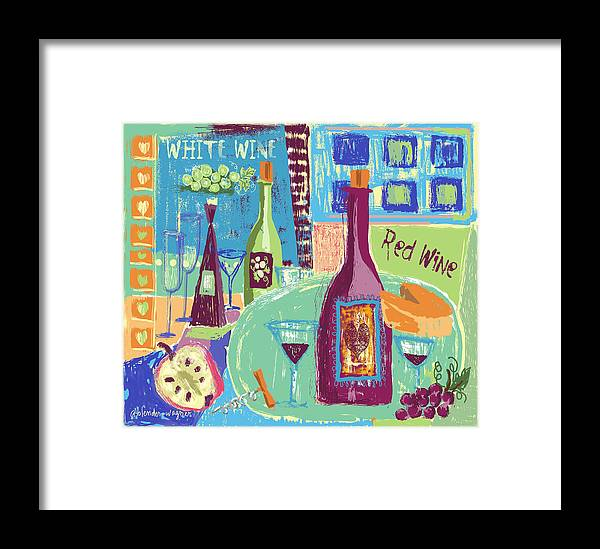 Wine Framed Print featuring the digital art For The Love Of Wine by Arline Wagner