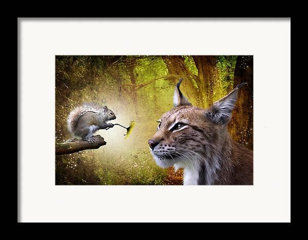 Cat Framed Print featuring the digital art For You by Julie L Hoddinott