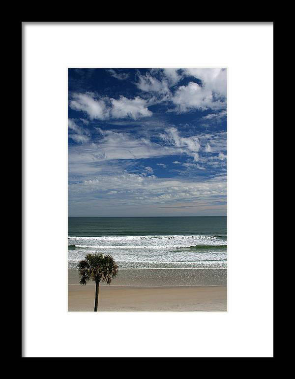 Beach Sky Cloud Clouds Blue Water Wave Waves Palmtree Tree Palm Sand Sun Sunny Vacation Travel Framed Print featuring the photograph For Your Pleasure by Andrei Shliakhau