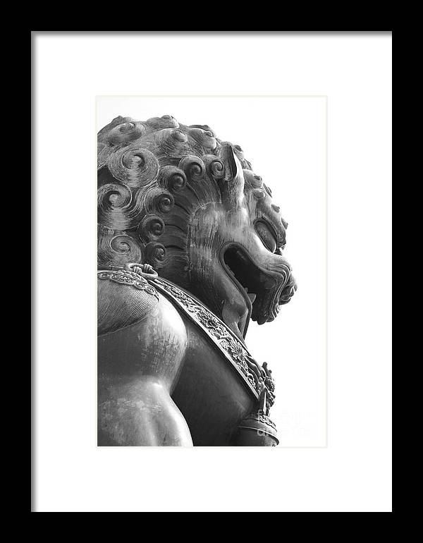 China Framed Print featuring the photograph Forbidden City Lion - Black And White by Carol Groenen