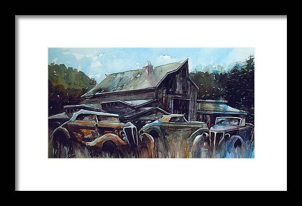 Barn Framed Print featuring the painting Ford Cabriolets Guard the Barn by Ron Morrison