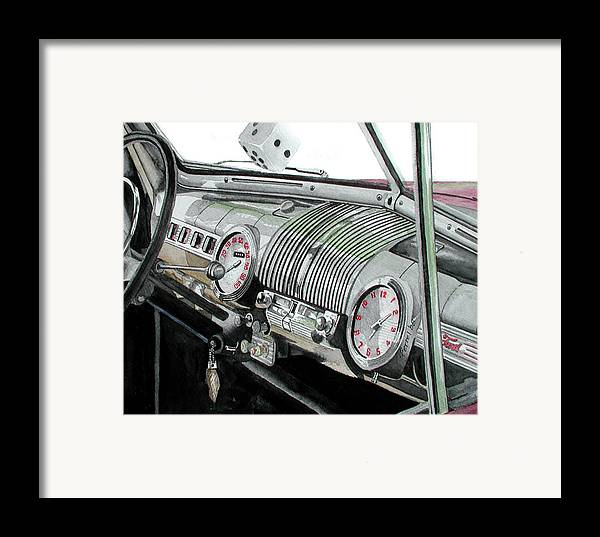 Car Framed Print featuring the painting Ford Dash by Ferrel Cordle