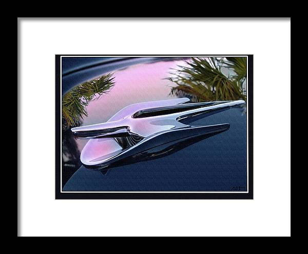 56 Ford Hood Ornament Framed Print featuring the digital art Ford Hood Ornament 56 by John Breen