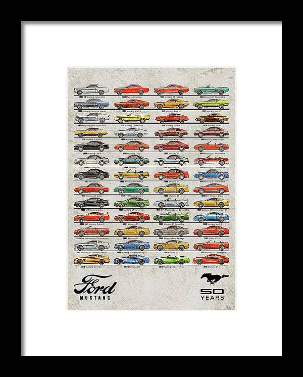 Ford Mustang Timeline History 50 Years Framed Print