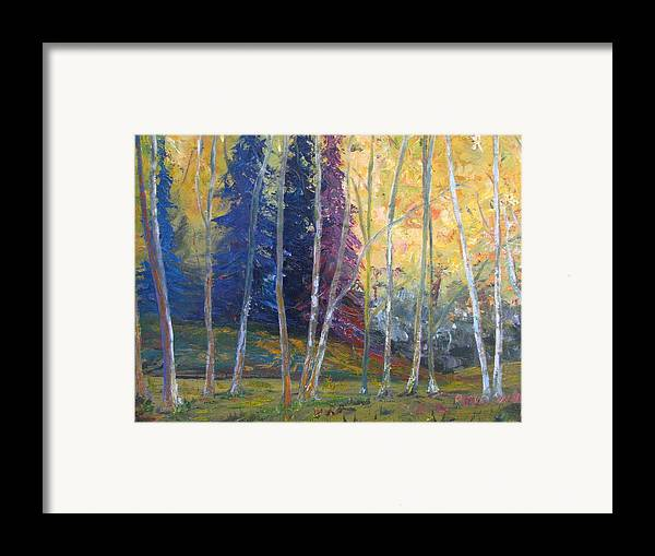 Impressionist Landscape Framed Print featuring the painting Forest At Twilight by Belinda Consten