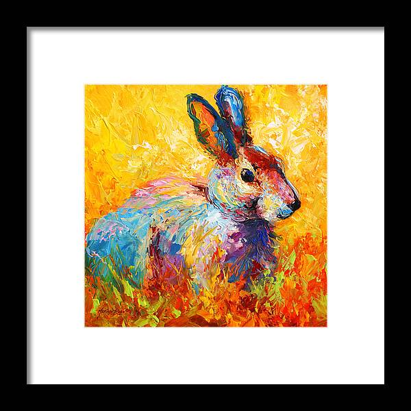Rabbit Framed Print featuring the painting Forest Bunny by Marion Rose