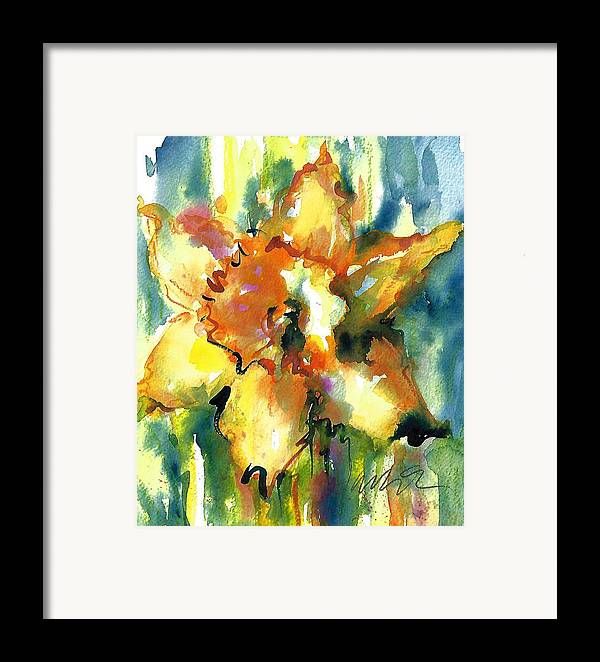 Wet-in-wet Framed Print featuring the painting Forest Daffodil In Rain by Jacki Kellum