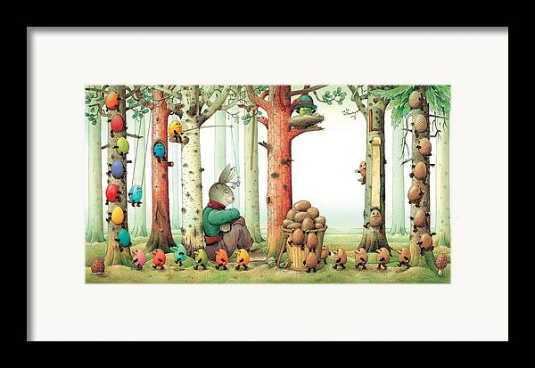 Eggs Easter Forest Framed Print featuring the painting Forest Eggs by Kestutis Kasparavicius