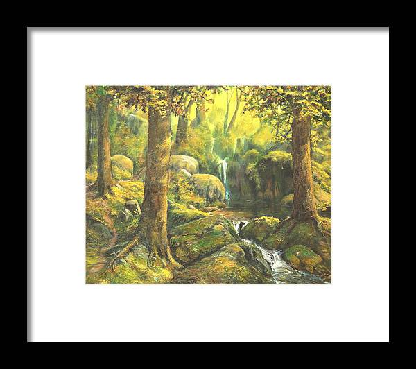 Landscape Framed Print featuring the painting Forest Enchantment by Craig shanti Mackinnon