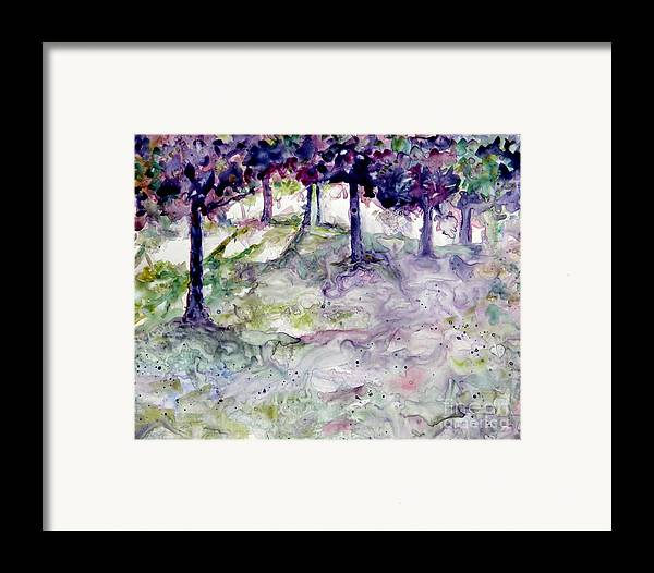 Fastasy Framed Print featuring the painting Forest Fantasy by Jan Bennicoff